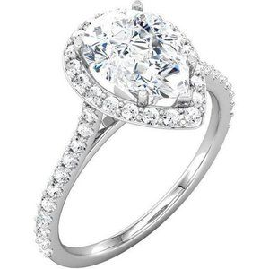 1.95 carat Pear center diamond wedding anniversary